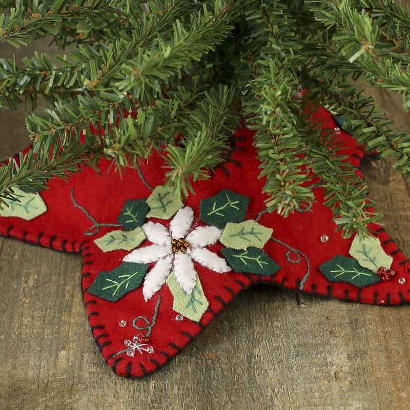 Small Christmas Poinsettia Embroidered Tree Skirt Trees