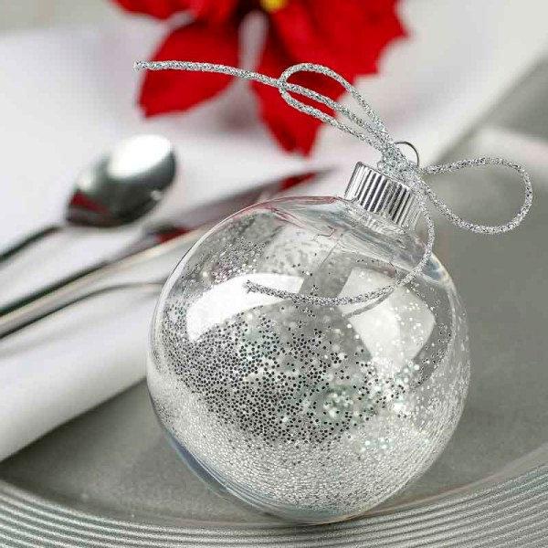Clear Plastic Ball Ornament - Acrylic Fillable Ornaments
