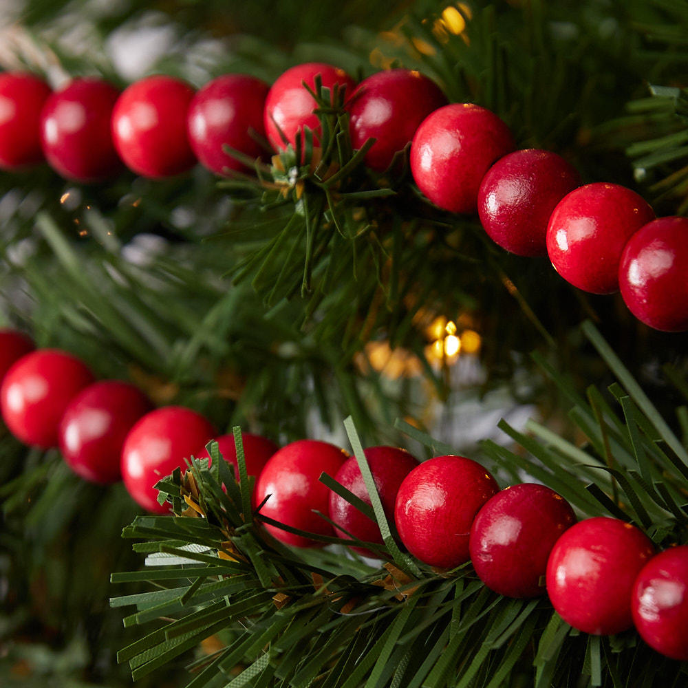 Cranberry Wooden Bead Garland Christmas Garlands