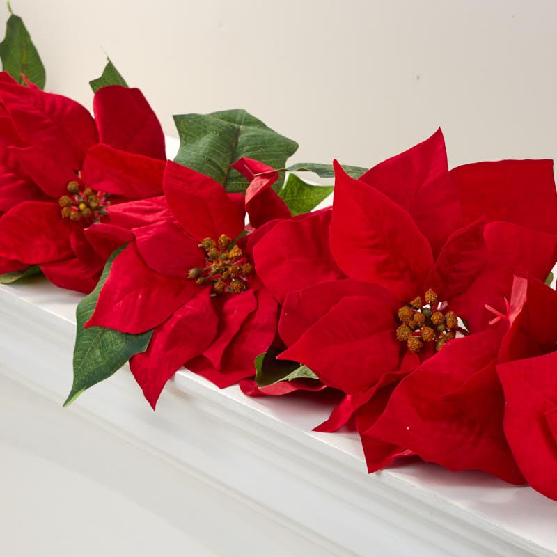 Red Velvet Artificial Poinsettia Garland Christmas