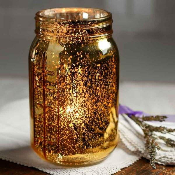 Large Gold Mercury Glass Mason Jar - Soap And Lotion