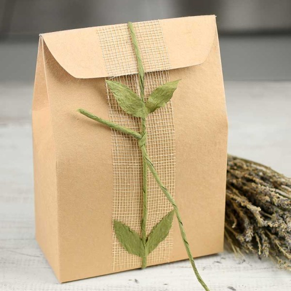 Sinamay And Paper Leaf Box - Bags Favor