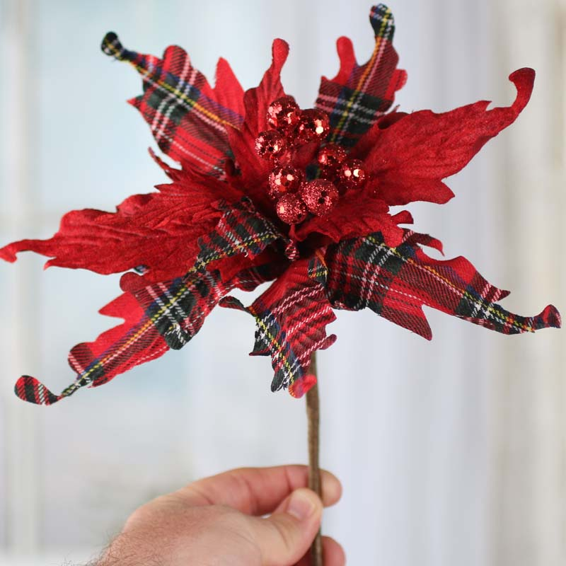 Christmas Plaid Artificial Poinsettia Pick  Christmas Holiday Florals  Floral Supplies  Craft