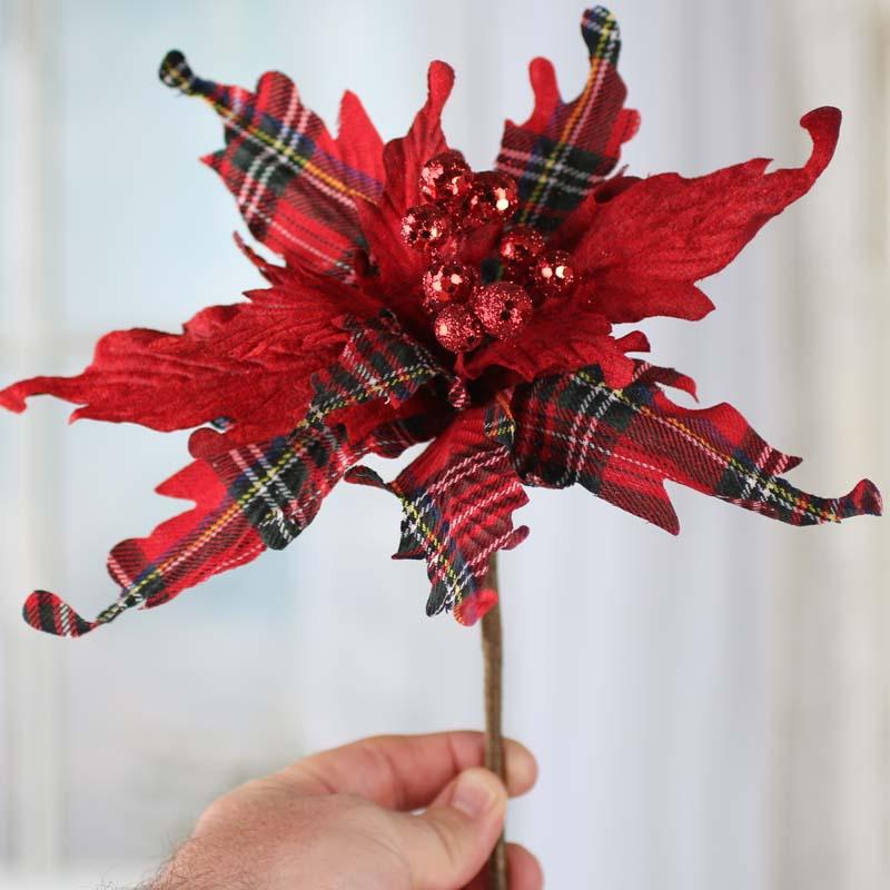 Christmas Plaid Artificial Poinsettia Pick  Christmas