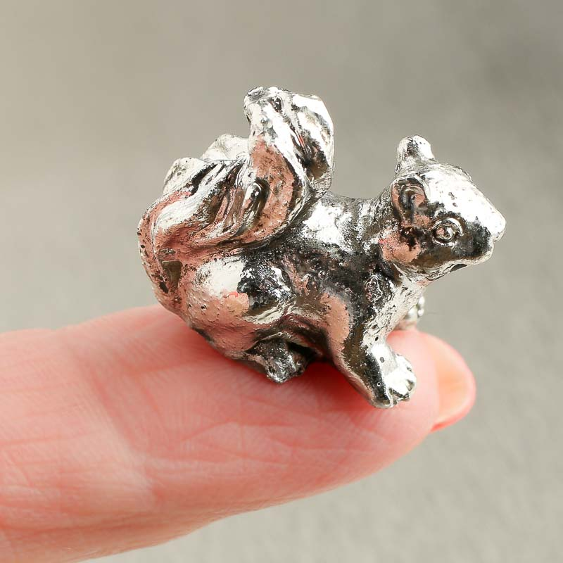 Miniature Faux Pewter Squirrel Figurine  Animal Miniatures  Dollhouse Miniatures  Doll Making