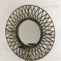 Black and Gold Wrought Iron Mirror Candle Holder - What's ...