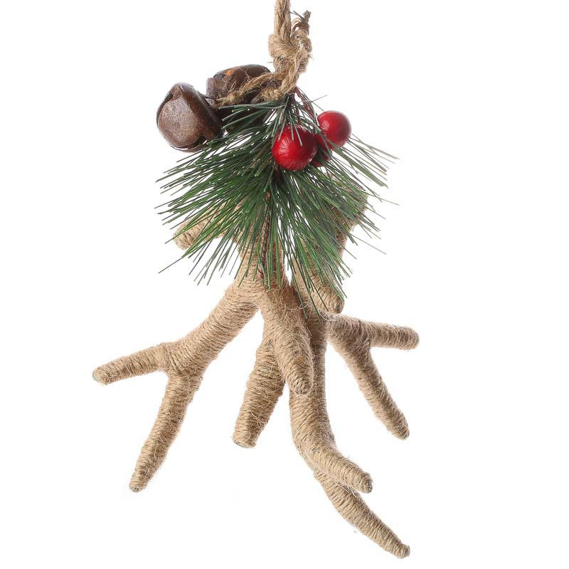 Rustic Natural Jute Antlers Ornament  Christmas Ornaments  Christmas and Winter  Holiday Crafts