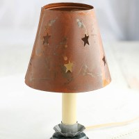 Rusty Tin Star Cutout Candle Lamp Shade