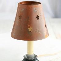 Rusty Tin Star Cutout Candle Lamp Shade