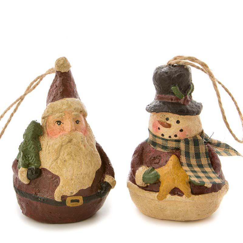 Primitive Paper Clay Snowman And Santa Ornament Set