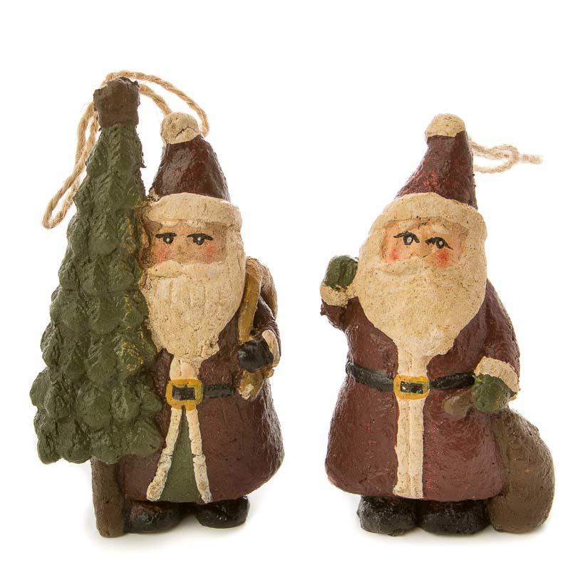 Primitive Paper Clay Santa Ornament Set Christmas
