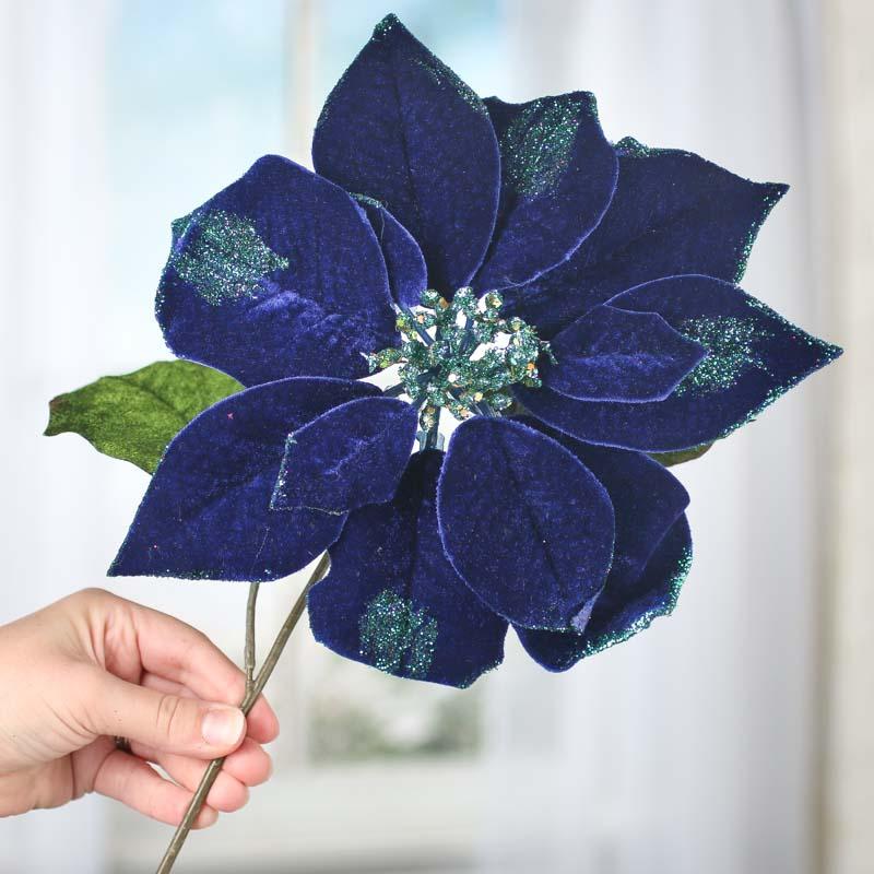 Zaffre Blue Sparkling Velvet Artificial Poinsettia Stem