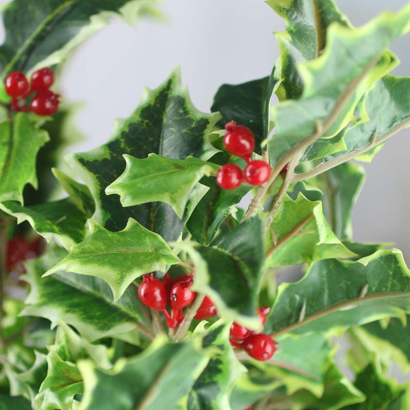 Variegated Artificial Holly Bush  Picks and Stems