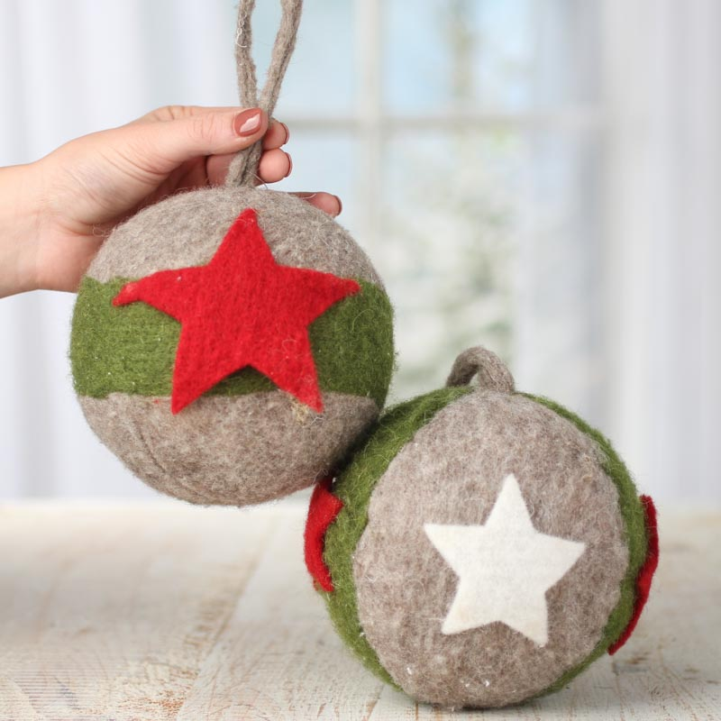 Large Felt Star Ball Christmas Ornament  Christmas Ornaments  Christmas and Winter  Holiday