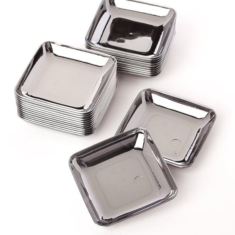 Small Silver Plastic Appetizer Plates