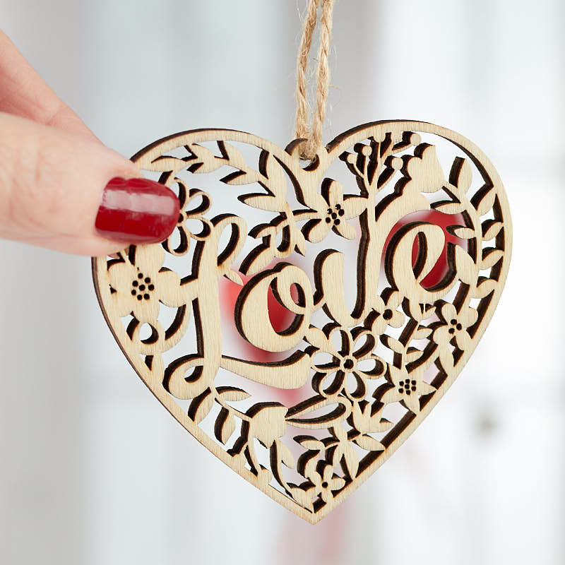 Laser Cut Wood Heart Cutout Ornament Valentines Day