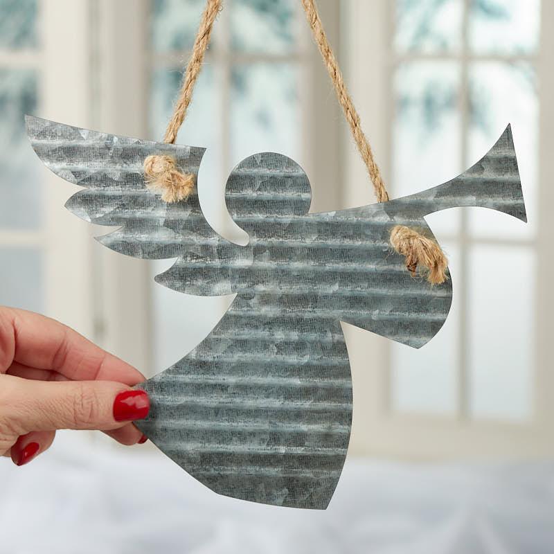 Corrugated Galvanized Metal Angel Ornament Christmas