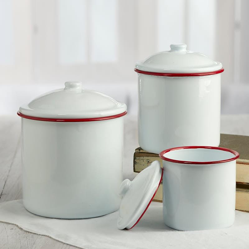 kitchen utensil set white sinks enamel canister - decorative accents primitive ...