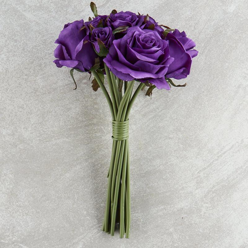 Dark Purple Artificial Rose Nosegay Bouquet  Bushes
