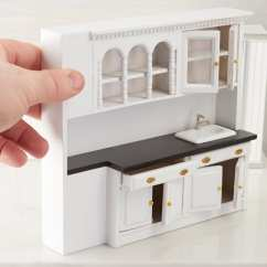 Kitchen Cabinets Doors Only Movable Dollhouse Miniature White Sink And ...