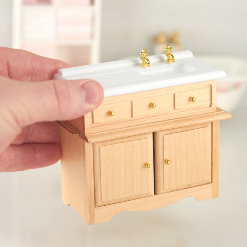 kitchen cabinet direct from factory bench cushions dollhouse miniature sink with oak ...