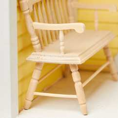 Wooden Bench For Kitchen Table German Cabinets Dollhouse Miniature Unfinished Wood Deacons ...