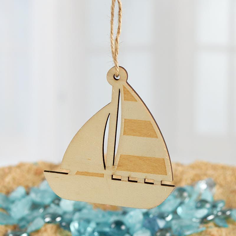 Wood Laser Cut Sailboat Ornament
