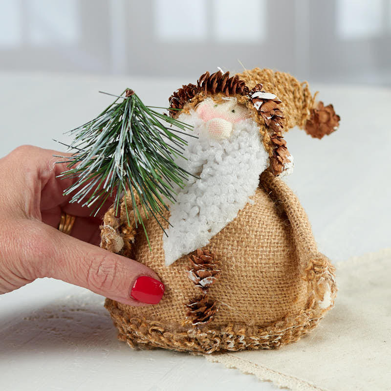 Rustic Roly Poly Burlap Santa Christmas And Holiday