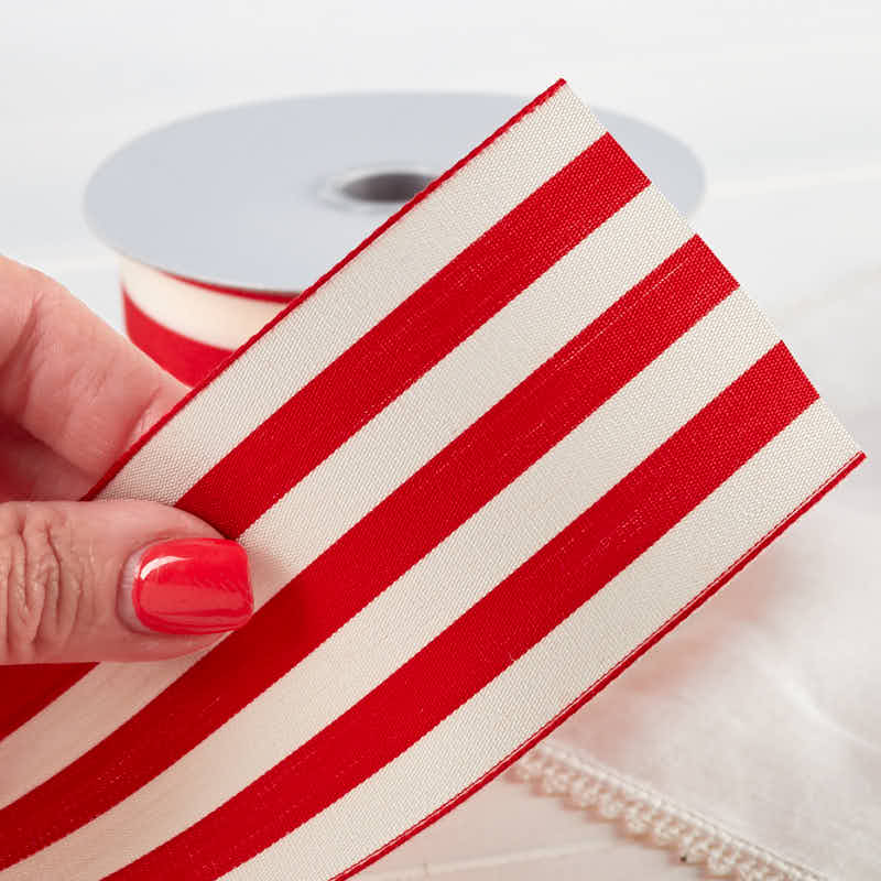 212 Red and White Striped Ribbon  Ribbon and Trims