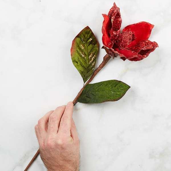 Red Glittered Flower Stem - Picks And Stems Floral