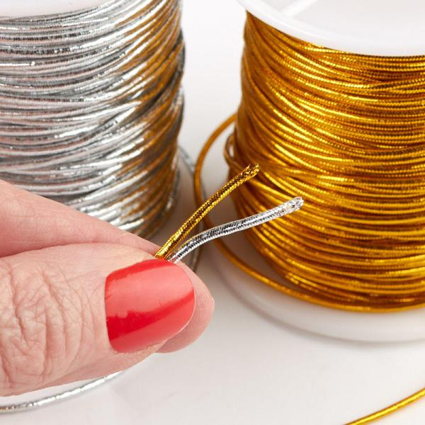 Silver And Gold Metallic Elastic Cord - Wire Rope