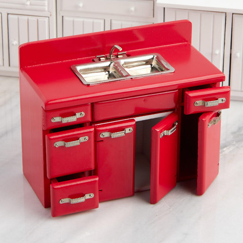 dollhouse miniature red retro kitchen sink and cabinet set