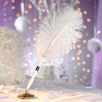Ivory Ostrich Feather Plume Pen and Holder Set - Wedding ...