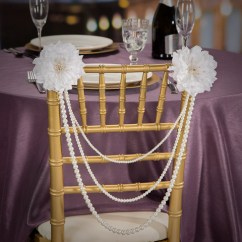 Chair Accessories For Weddings Brushed Metal Dining Chairs White Faux String Pearl Swag Decorations Wedding Reception Click Here A Larger View