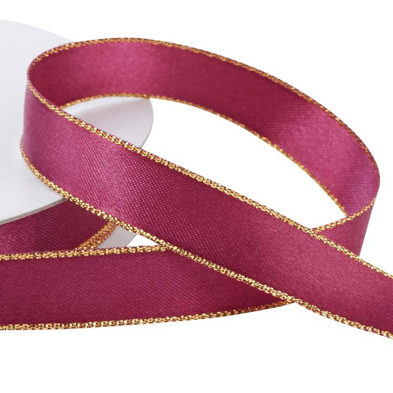 58 Burgundy With Gold Edge Satin Ribbon Ribbon And