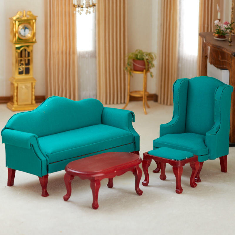 queen anne living room sets burnt orange curtains for dollhouse miniature green set item 03165 other