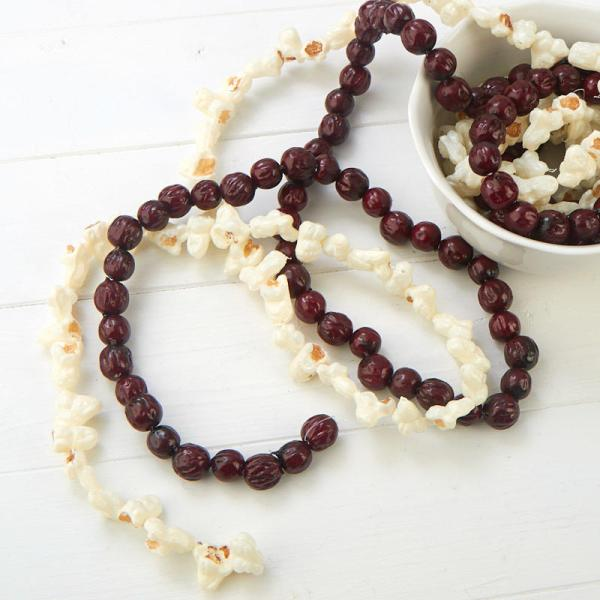 Dried Artificial Cranberry And Popcorn Garland Set