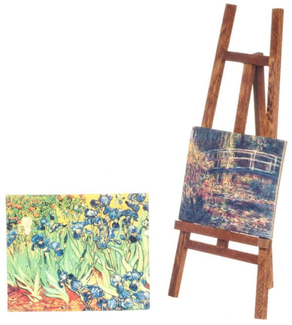 dollhouse miniature easel and paintings