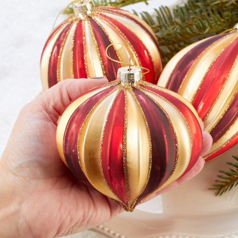 Burgundy And Gold Christmas Ornaments