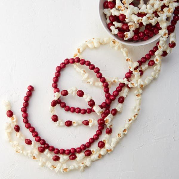 Burgundy Bead Popcorn And Cranberry Garland Set