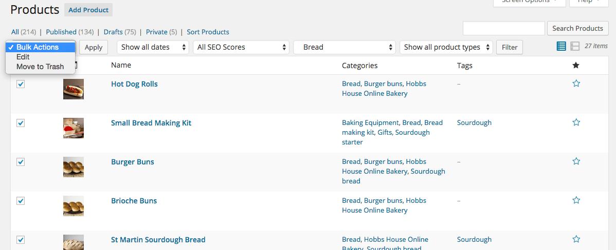 Bulk edit WooCommerce Products