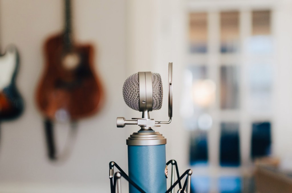 Microphone in a recording studio