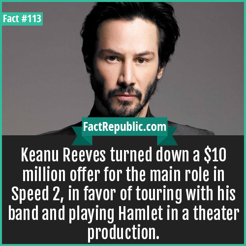 113- Keanu Reevs-Keanu Reeves turned down a $10 million offer for the main role in Speed 2, in favor of touring with his band and playing Hamlet in a theater production.