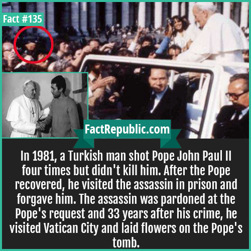 135. Paul II Assassin 1981 Turkish Man-Turkish-Man-In 1981, a Turkish man shot Pope John Paul II four times but didn't kill him. After the Pope recovered, he visited the assassin in prison and forgave him. The assassin was pardoned at the Pope's request and 33 years after his crime, he visited Vatican City and laid flowers on the Pope's tomb.