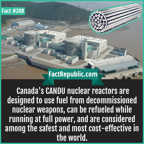 208. CANDU nucler-Canada's CANDU nuclear reactors are designed to use fuel from decommissioned nuclear weapons, can be refueled while running at full power, and are considered among the safest and most cost-effective in the world.