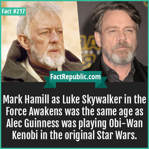 217. Mark Hamill-Mark Hamill as Luke Skywalker in the Force Awakens was the same age as Alec Guinness was playing Obi-Wan Kenobi in the original Star Wars.