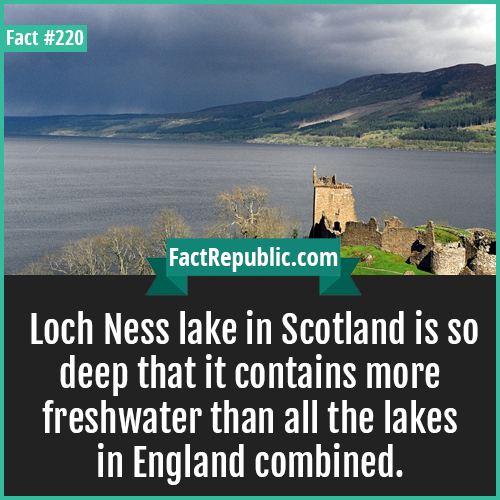 220. Loch Ness Lake-Loch Ness lake in Scotland is so deep that it contains more freshwater than all the lakes in England combined.