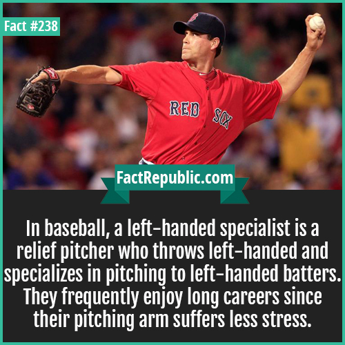 238-LEFT HAND BASEBALL-In baseball, a left-handed specialist is a relief pitcher who throws left-handed and specializes in pitching to left-handed batters. They frequently enjoy long careers since their pitching arm suffers less stress.