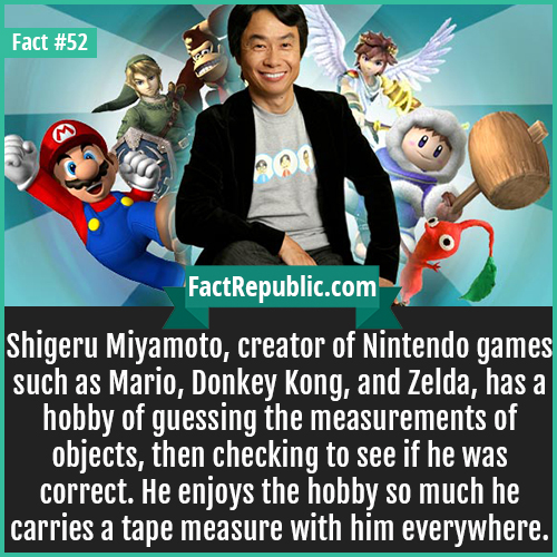 52. Shigeru Miyamoto-Shigeru Miyamoto, creator of Nintendo games such as Mario, Donkey Kong, and Zelda, has a hobby of guessing the measurements of objects, then checking to see if he was correct. He enjoys the hobby so much he carries a tape measure with him everywhere.
