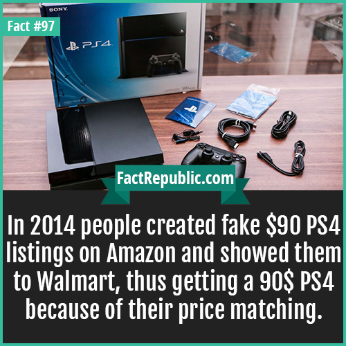 97. PS4-In 2014 people created fake $90 PS4 listings on Amazon and showed them to Walmart, thus getting a 90$ PS4 because of their price matching.